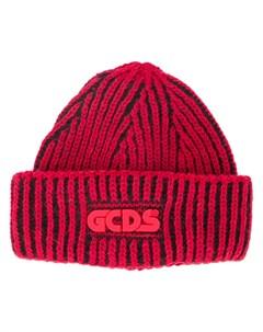 Шапка бини в рубчик с логотипом Gcds
