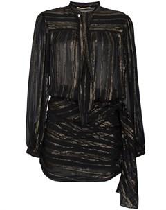 Платье мини с запахом с металлическими нитями и бантом Saint laurent