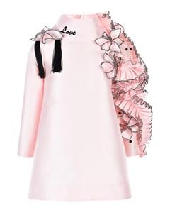 Розовое платье с объемными аппликациями детское Nikolia