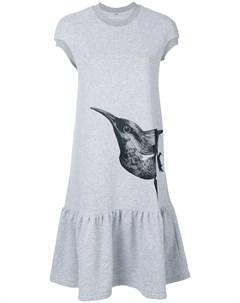 Платье футболка с принтом в виде птицы Ioana ciolacu