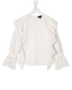 Блузка с вышивкой и оборками Oscar de la renta kids