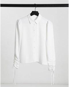 Белая рубашка с оборками на рукавах Pimkie