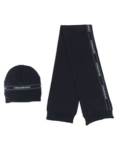 Комплект из шапки бини и шарфа с логотипом Emporio armani kids