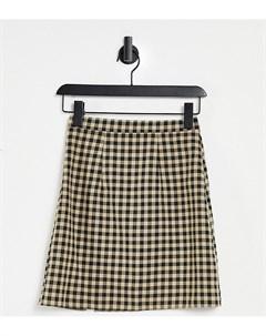 Мини юбка с разрезом на подоле и принтом в клетку ASOS DESIGN Tall Asos tall