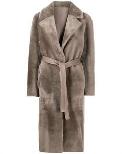 Пальто с мехом и поясом Blancha
