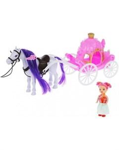 Игровой набор Карета с лошадью и куколкой Наша игрушка