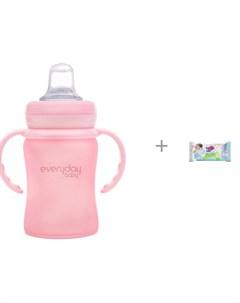 Поильник Стеклянная бутылочка с мягким носиком 150 мл и салфетки L 20 шт Manuoki Everyday baby