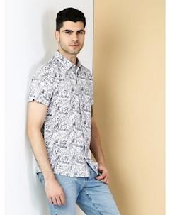 COLINS белый мужской рубашки короткий рукав