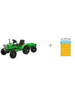 Электромобиль Детский трактор с прицепом TR 55 и наклейки Квадрат 100 х 85 мм Sport Barty