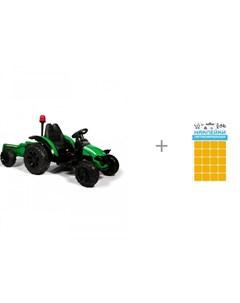 Электромобиль трактор с прицепом TR 99 и наклейки световозвращающие Квадрат 100 х 85 мм Sport Barty