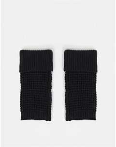 Черные вязаные варежки без пальцев Asos design