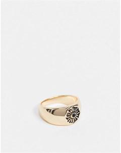 Золотисто розовое кольцо с отпечатком в виде цветка Topman