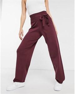 Трикотажные брюки бордового цвета с завышенной талией Native youth