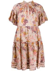Платье с цветочным принтом и оборками Ulla johnson