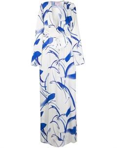 Двухцветное платье макси с длинными рукавами Galvan