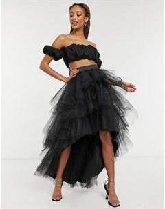 Черная многоярусная юбка из фатина с асимметричным нижним краем Mercy Chi chi london