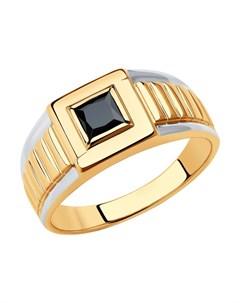 Кольцо из золота с родированием с фианитом Sokolov