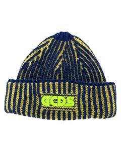 Вязаная шапка бини с нашивкой логотипом Gcds