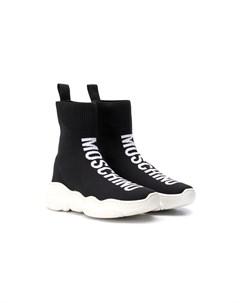 Высокие кроссовки носки с логотипом Moschino kids