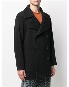 Плиссированное двубортное пальто Homme plissé issey miyake