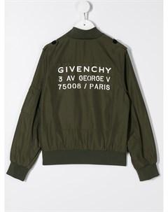 Бомбер на молнии с логотипом Givenchy kids