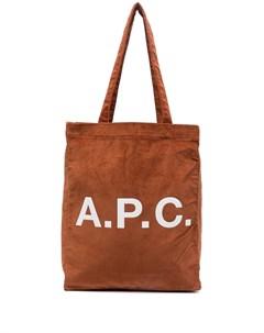 Вельветовая сумка тоут с логотипом A.p.c.