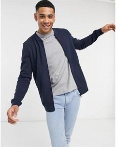 Темно синяя куртка бомбер из трикотажа Tom tailor