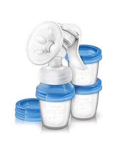 Молокоотсос ручной Philips Avent SCF330 13 с контейнерами для хранения молока Avent philips