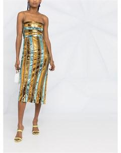 Полосатое платье миди с пайетками Galvan