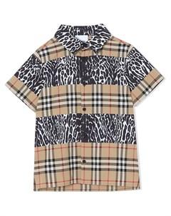Клетчатая рубашка с леопардовыми вставками Burberry kids