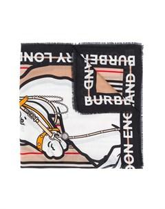 Шарф с графичным принтом и логотипом Burberry kids