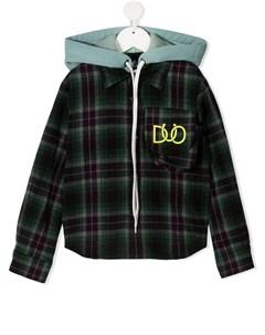 Клетчатая рубашка с капюшоном и логотипом Duoltd