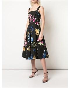 Расклешенное платье с цветочным принтом Marchesa