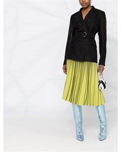 Двубортный пиджак с цветочным кружевом Msgm