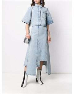 Джинсовая юбка с эффектом потертости Ssheena