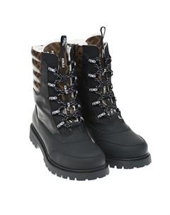 Черные высокие ботинки с коричневыми вставками детские Fendi