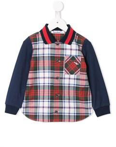 Клетчатая рубашка с контрастными рукавами Familiar