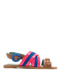 Сандалии с перекрестными ремешками в полоску Blue bird shoes