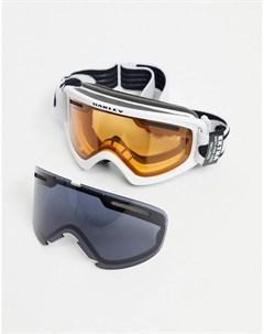 Защитные горнолыжные очки маска в белой матовой оправе с оранжевыми серыми линзами Frame 2 0 Pro XS Oakley