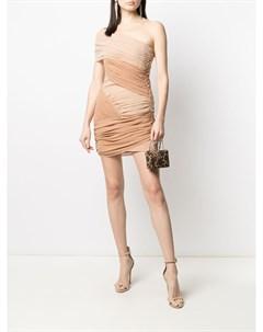 Двухцветное платье мини с драпировкой David koma