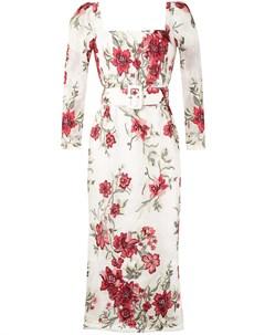 Платье миди с цветочным принтом Marchesa