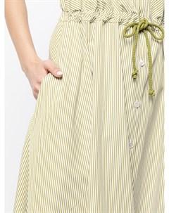 Полосатое платье миди без рукавов с кулиской Martin grant