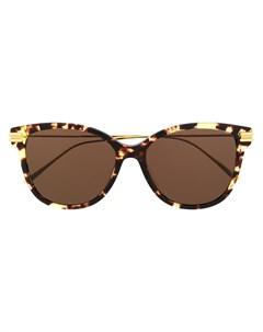Солнцезащитные очки в круглой оправе черепаховой расцветки Bottega veneta eyewear