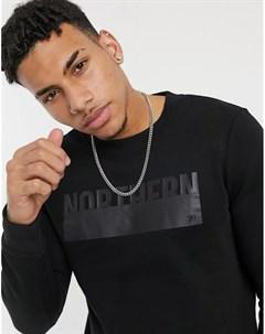 Черный свитшот с круглым вырезом и принтом Tom tailor