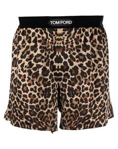 Боксеры с леопардовым принтом и логотипом Tom ford