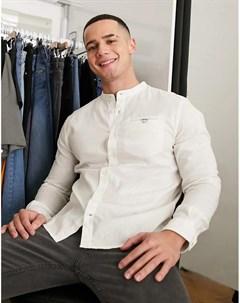 Белая льняная рубашка с воротником стойкой Tom tailor
