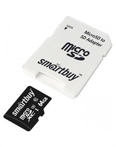 Карта памяти MicroSDXC 64GB PRO U3 Class 10 c адаптером SD Smart buy