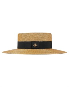 Соломенная шляпа с деталью в форме пчелы Gucci