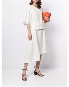 Блузка с пышными рукавами и асимметричным вырезом Eudon choi