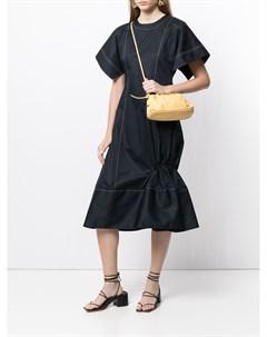 Платье с контрастной строчкой и короткими рукавами Eudon choi